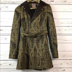Free People Sz 6 Jacquard Paisley Trench Coat